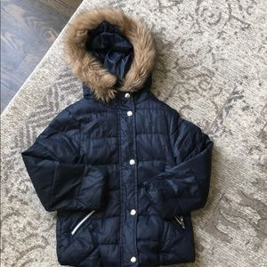 Zara kids navy blue puffer with removable fur